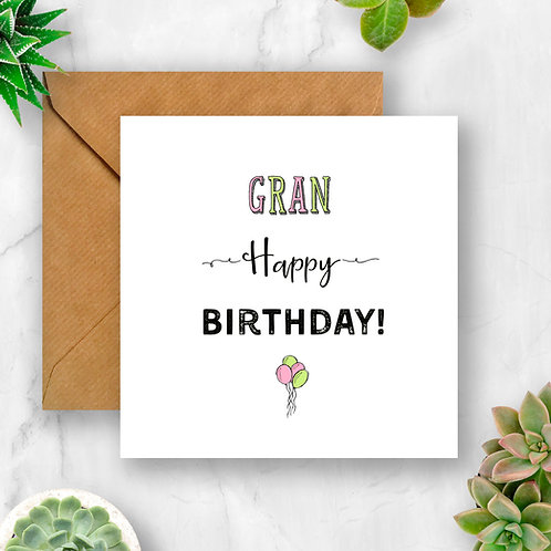 Balloons Gran Birthday Card