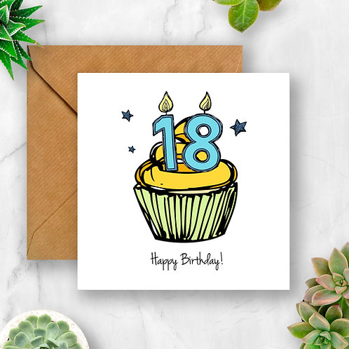 Cupcake Birthday Any Number Card (Blue)