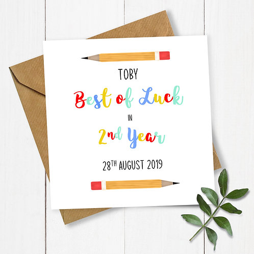 Personalised Pencils Best of Luck in 2nd Year Card