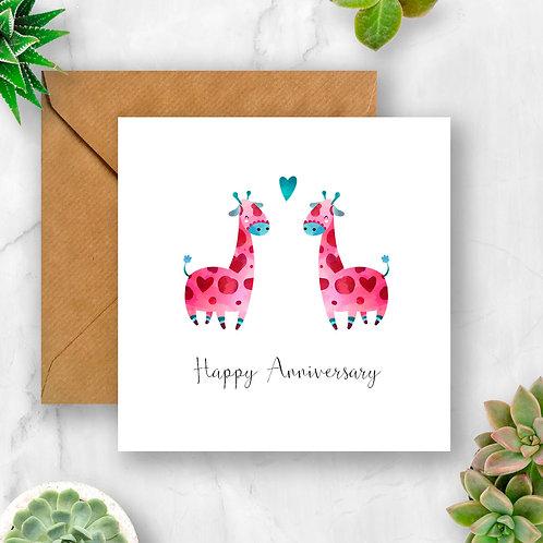 Giraffes Happy Anniversary Card