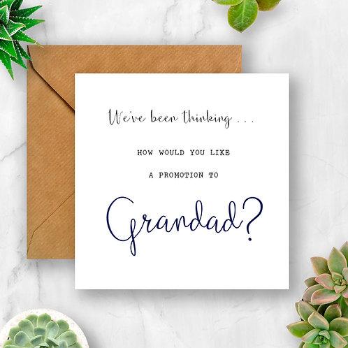 Promotion to Grandad Pregnancy Announcement Card