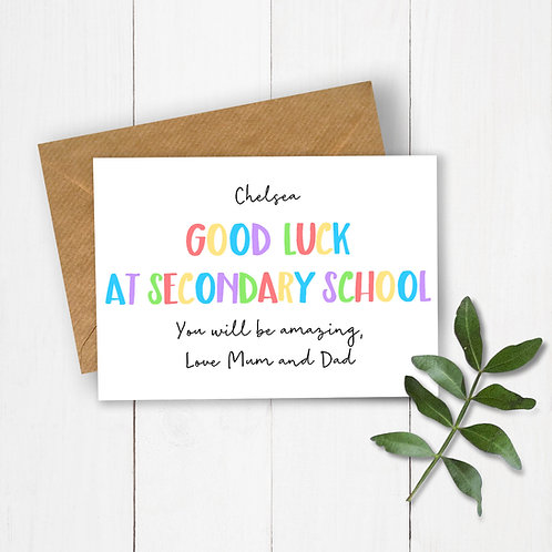 Personalised Rainbow Letters Good Luck at Secondary School Card