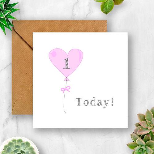 Heart Balloon Children/Baby Birthday Age Card