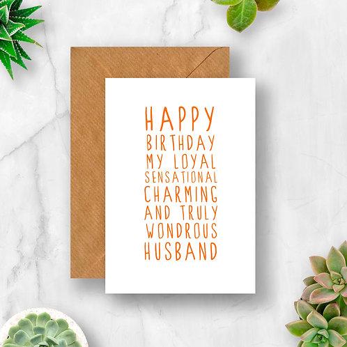 Sweet Description Happy Birthday Husband Card
