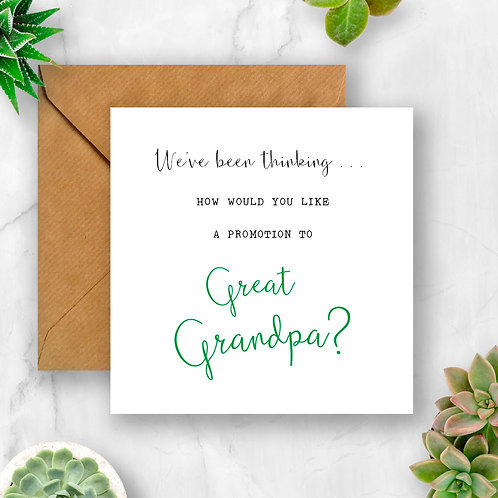 Promotion to Great Grandpa Pregnancy Announcement Card