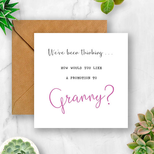 Promotion to Granny Pregnancy Announcement Card