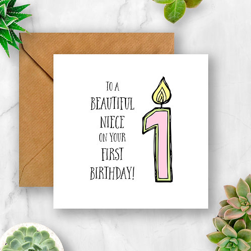 Girl Candle Number Birthday Card