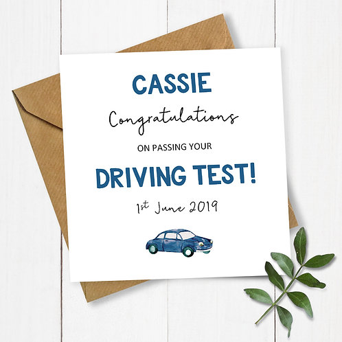 Personalised Congratulations on Passing Your Driving Test Card (Blue)