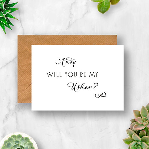 Personalised Will You Be My Usher? Crystal Card