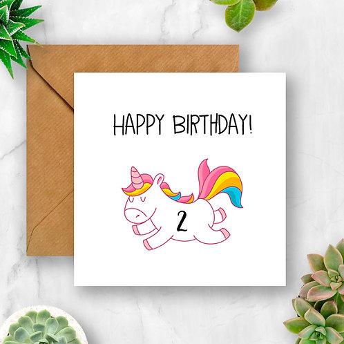 Rainbow Unicorn Birthday Number Card