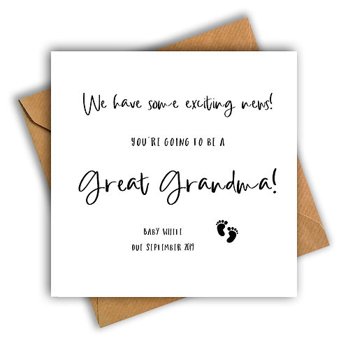 Personalised Baby Feet Great Granny Pregnancy Announcement Card
