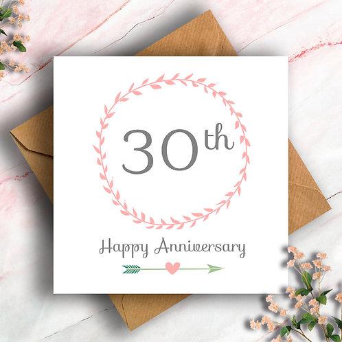 30th Anniversary Wreath Card
