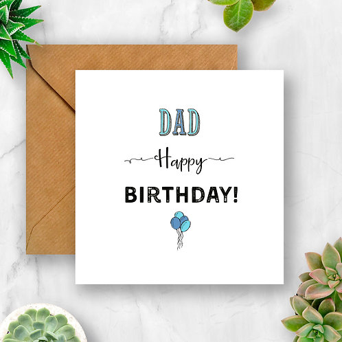 Balloons Dad Birthday Card