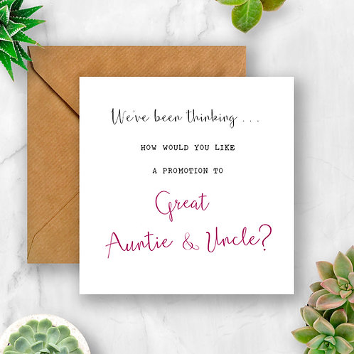 Promotion to Great Auntie & Uncle Pregnancy Announcement Card