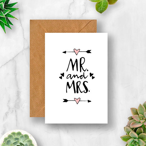 Mr & Mrs Arrow Hearts Wedding Card
