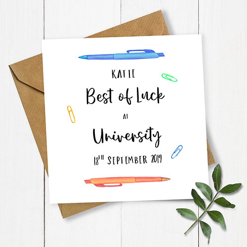 Personalised Pens Best of Luck at University Card