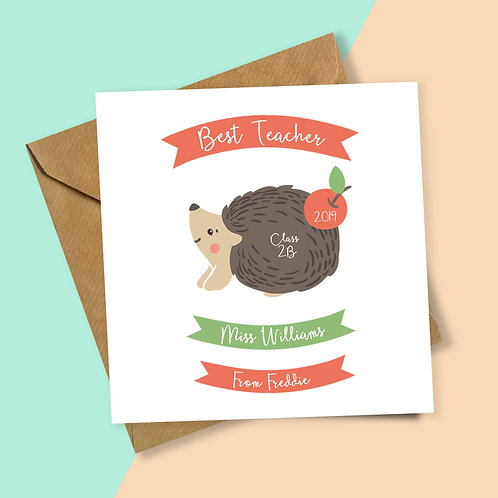 Best Teacher Hedgehog Personalised Card