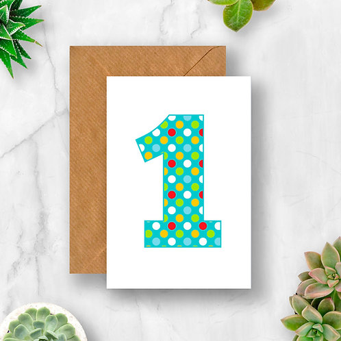 Bright 1st Birthday Number Card
