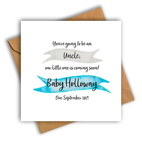 Personalised Ribbon Uncle Pregnancy Announcement Card