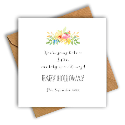 Personalised Flowers Sister Pregnancy Announcement Card