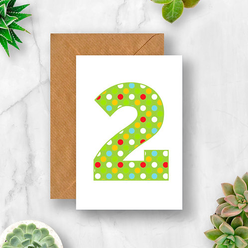 Bright 2nd Birthday Number Card