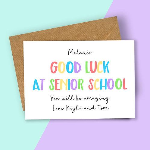 Personalised Rainbow Letters Good Luck at Senior School Card