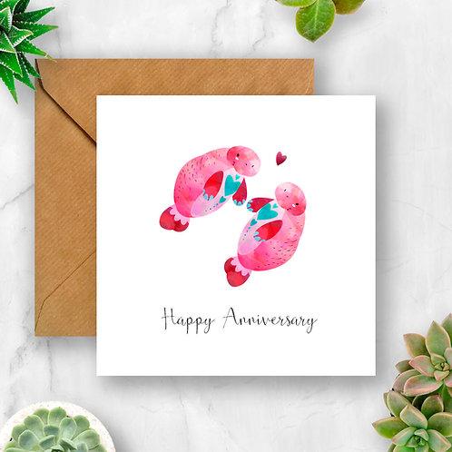 Manatees Happy Anniversary Card