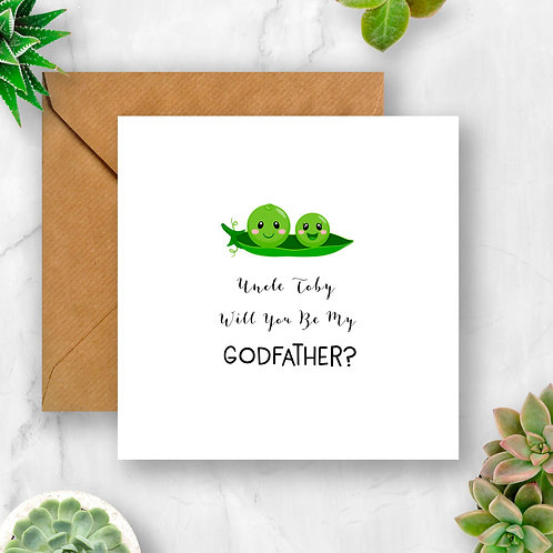Personalised Peas Will You Be My Godfather? Card