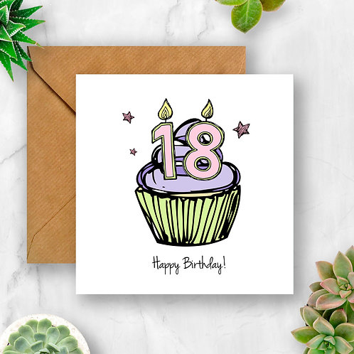 Cupcake Birthday Any Number Card (Pink)