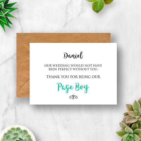 Personalised Page Boy Thank You Card
