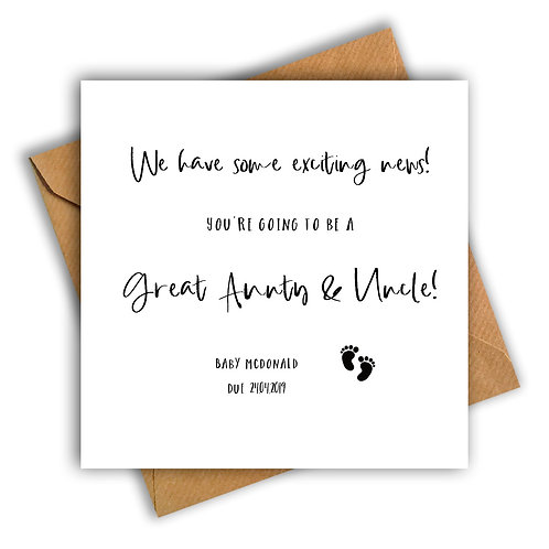 Personalised Baby Feet Great Aunt & Uncle Pregnancy Announcement Card