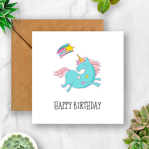 Unicorn and Star Birthday Card