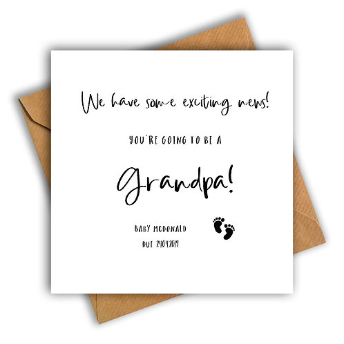 Personalised Baby Feet Grandpa Pregnancy Announcement Card