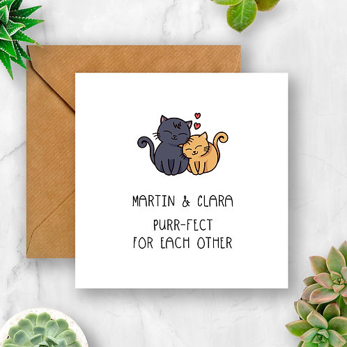 Personalised Purr-fect for Each Other Card