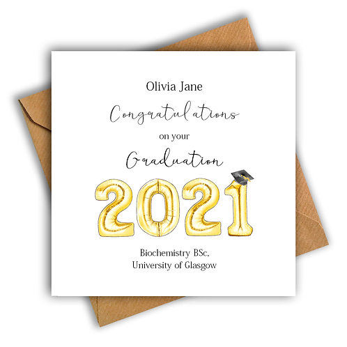 Personalised Balloon Graduation Card (Gold)