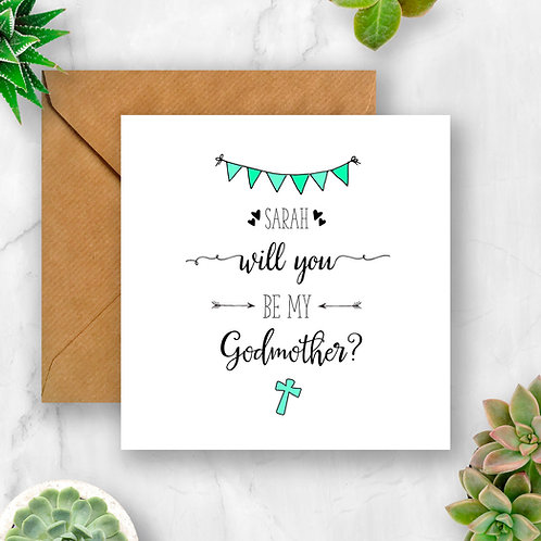 Personalised Will You Be My Godmother? Card