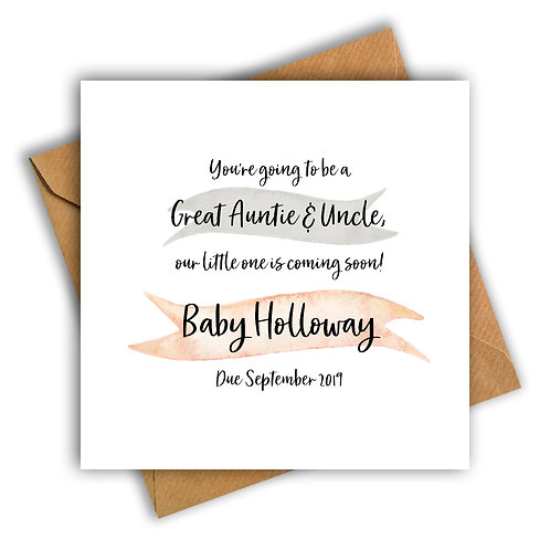 Personalised Ribbon Great Aunt & Uncle Pregnancy Announcement Card