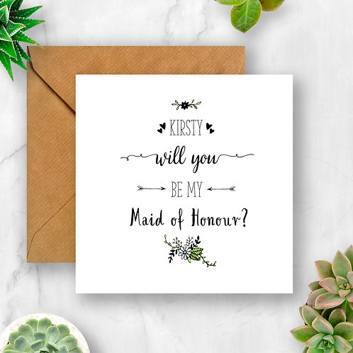 Personalised Will You Be My Maid of Honour? Flower Card