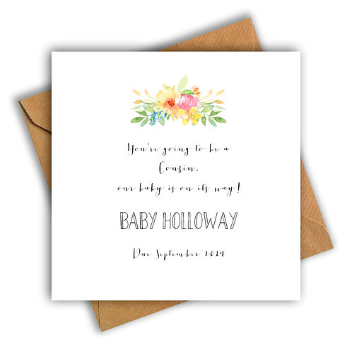 Personalised Flowers Cousin Pregnancy Announcement Card