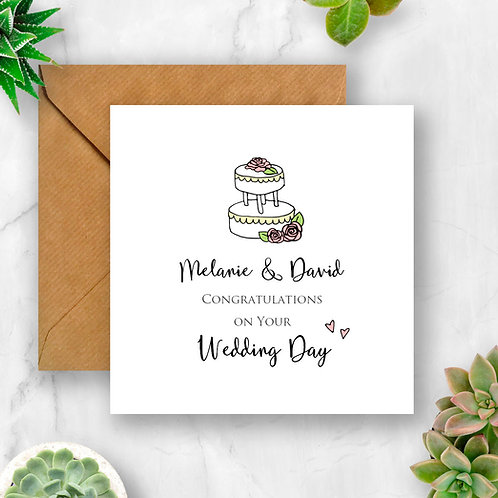 Personalised Wedding Congratulations with Cake Card