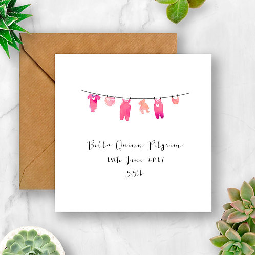 Personalised Gorgeous Baby Girl Washing Line Card