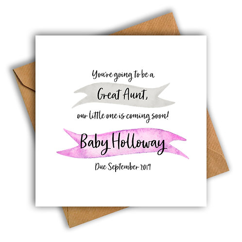 Personalised Ribbon Great Aunt Pregnancy Announcement Card