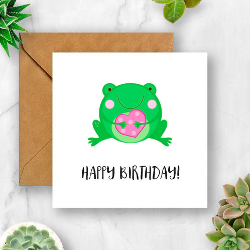Frog & Heart Birthday Card