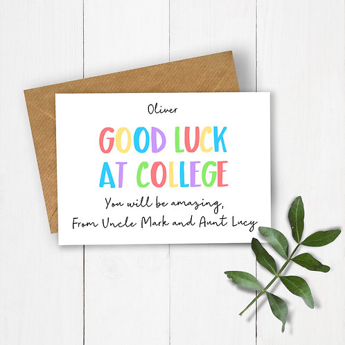 Personalised Rainbow Letters Good Luck at College Card