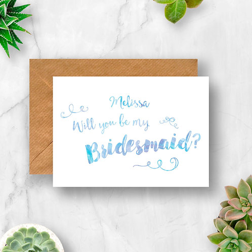 Personalised Will You Be My Bridesmaid? Watercolour Card