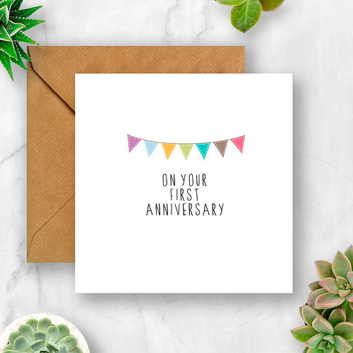 Bunting 1st Anniversary Card