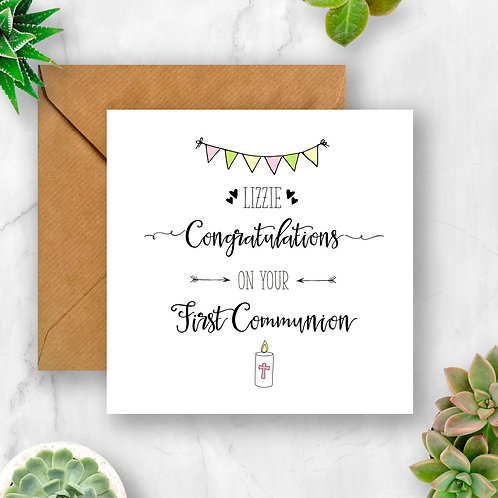 Personalised Candle Congratulations On Your First Communion Card