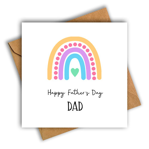 Rainbow Happy Father's Day Card (Multicoloured)