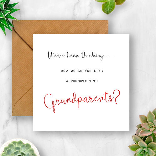 Promotion to Grandparents Pregnancy Announcement Card