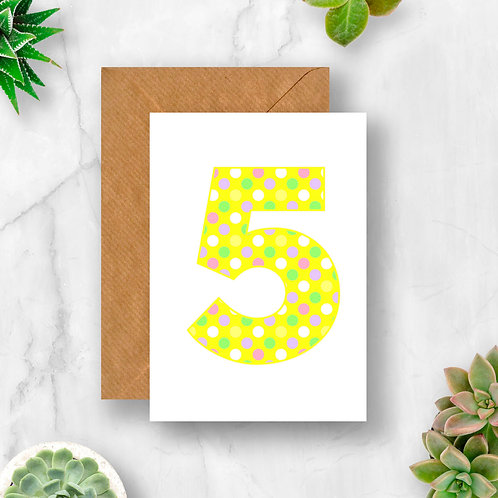 Pastel 5th Birthday Number Card